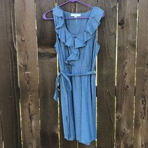 Chambray Tie Waist Dress